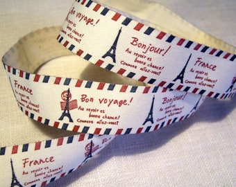 CANVAS print 100% cotton twill Ribbon * 22 mm * Eiffel Tower Bonjour Paris - sold by the yard