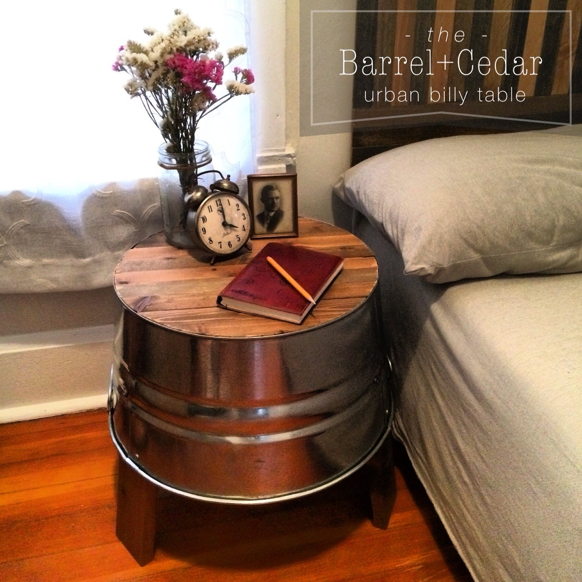 Barrel Cedar Rustic End Table Nightstand Handmade in