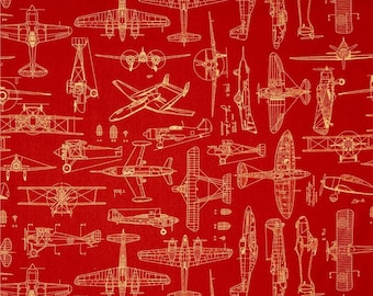 Blueprint fabric etsy quilting treasures aviator plane blueprints rust red airplanes blueprint 100 cotton fabric by the malvernweather Gallery