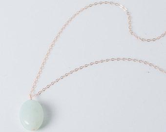 Long Gold necklace, Long amazonite pendant, semiprecious, rosegold, 24k gold blue, aqua, rose gold necklace