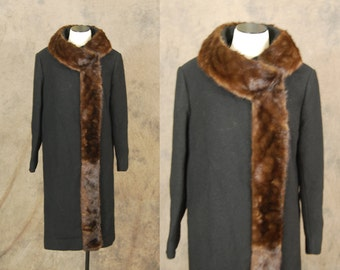 vintage 50s Wool Coat - 1950s Mink Collar Coat - Betty Rose Black Wool Long Coat Sz M L