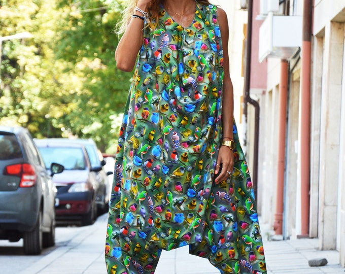 Women's Colorful Jumpsuit, Cotton Loose Jumpsuit, Casual Birds Printed Jumpsuit, Maxi Drop Crotch Jumpsuit by SSDfashion