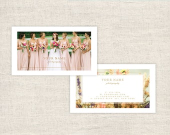 Elegant Wedding Photography Business Card Template  - Photographer Templates, Photo Marketing, Photography Branding - INSTANT DOWNLOAD