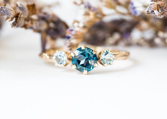 Ready to ship 1 week- Three stone london blue topaz and aquamarine engagement ring, aquamarine gold engagement ring, twig engagement ring