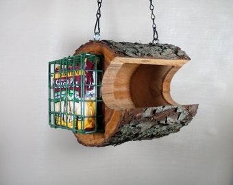 Bird Feeder, Hanging Bird Feeder, Rustic Bird Feeder, The Original Natural Log Feeder,  Combo Seed & Suet Feeder, Unique Cherry Birdfeeder