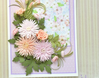 Lush Astra Flowers Quilled Greeting Card - Festive Quilling Card - Birthday Quilling Card - Astra Flowers