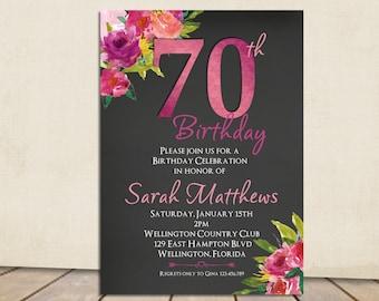 70th Birthday Invitation, Surprise Birthday Invitation, Any Age Adult Birthday, Fuscia and Rose Printable Invitation