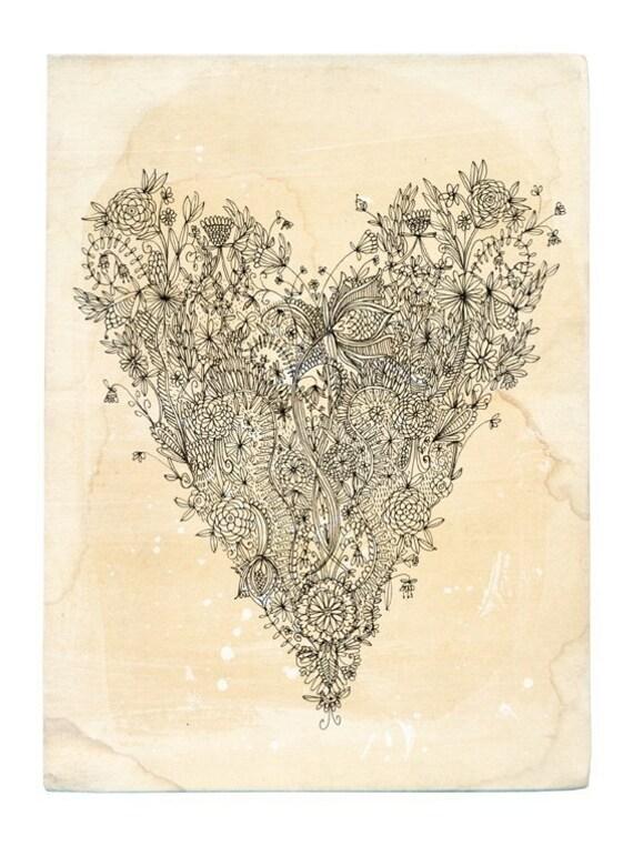 SALE Love Heart - Archival quality Wall art print  botanical line illustration
