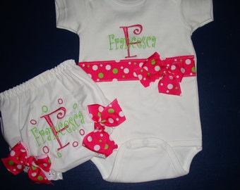 Baby Gift Personalized Onesie and Diaper Cover Hot Pink and Lime Green, Baby Gift for Girl, Girl Baby Gift, Baby Shower Present for Girl