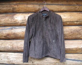 Anne Klein Sz L Suede Coat Brown Suede Jacket Womens Cropped Leather Womens Designer Brown Suede Motorcycle jacket Mandarin Collar