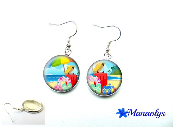 Holiday, edge of the sea, vacation photo, colorful earrings, glass 3555 cabochons earrings