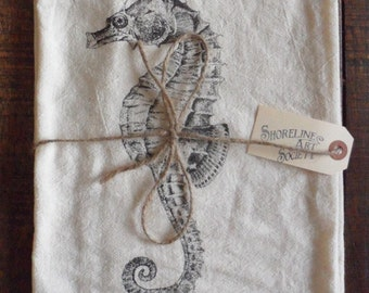 SEAHORSE Original Screenprint Tea Towel Organic Cotton Flour Sack