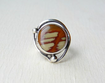 Vintage Statement Ring, Picture Jasper Jewelry, Vintage Statement Jewelry, Girlfriend Gift, Birthday for Daughter, Artisan Handcrafted Ring