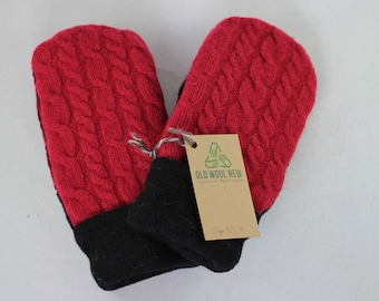 Medium Red and Black  Sweater Mittens, Cable Knit Mittens, Recycled Mittens, Wool Mittens OldWoolNew Warm Mittens,  Cable Knit