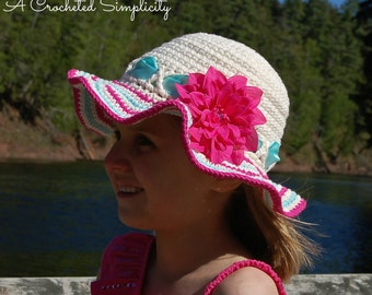 """Crochet Pattern: """"Sweet & Sassy"""" Sunhat, Sizes Baby thru Adult, Permission to Sell Finished Items"""