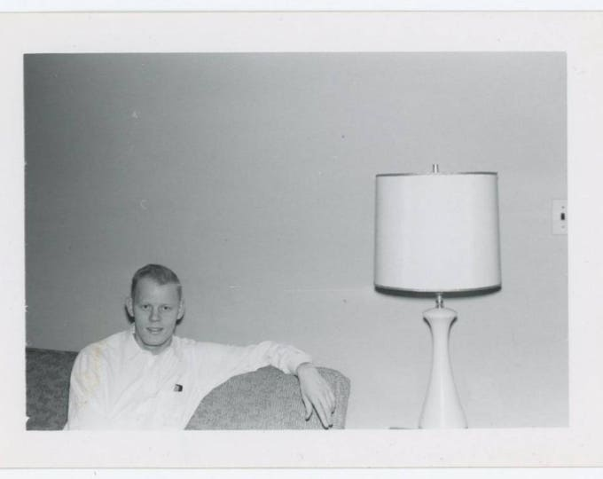 Teenager with Pocket Comb; Lamp & Light Switch, c1950s Vintage Snapshot Photo (78597)