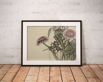 Flower vase print, Flower print, PRINTABLE ART, Wall Decor, Digital Art, Downloadable, Nature Print, Zen Print, Botanical art, Floral print