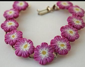 Fushia Flower Bracelet