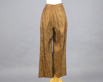 "1950s Cigarette Pants, 50s Pants, Metallic Bronze High Waisted Pants, Pinup Rockabilly Pants, VLV 28"" Waist Medium"