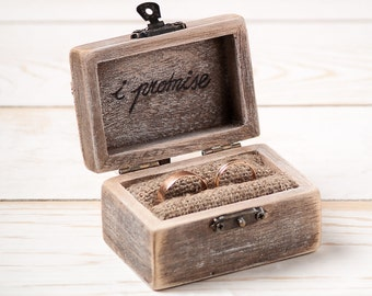 Ring Bearer Box Wedding Ring Box Rustic Wedding Ring Holder Pillow Bearer Box with Hearts Wooden Engagement Ring Box Burlap and Lace / D5