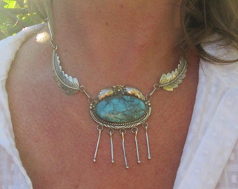 Turquoise and Sterling Silver Feathers Pendant on an 18 inch Sterling Silver Feathers Necklace