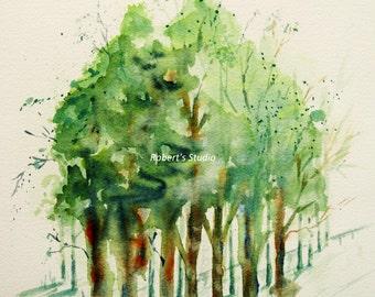 Print Of Original Watercolor landscape painting, tree art, watercolor art watercolor print, home decor wall art, watercolor trees, green.
