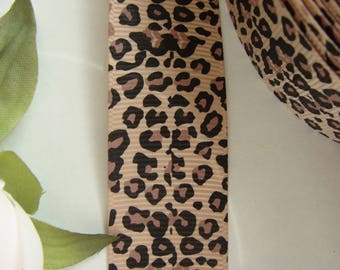 The meter leopard coffee 25 mm wide polyester Ribbon