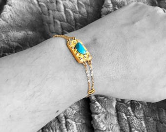 Turquoise bracelet. Bolo bracelet. Turquoise jewelry. Jewelry gift. Dainty jewelry. Adjustable jewelry. Chain and link bracelet.