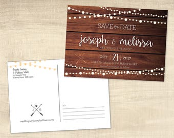 Rustic Save the Date, Postcard Save the Date
