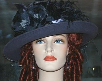 Kentucky Derby Hat Ascot Edwardian Tea Hat Titanic Hat Somewhere in Time Hat Downton Abbey Hat Women's Gray Hat - Lady Ashcroft