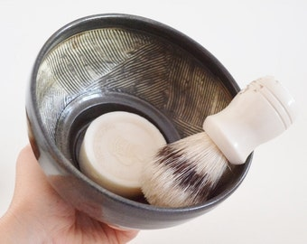 IN STOCK, Ceramic Shaving Cup, Hand Thrown Black Shaving Dish, Stoneware Textured Wet Shaving Bowl, Valentines Day Gift for Him