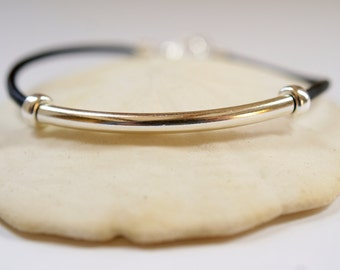 Sterling Silver and Leather Tube Bracelet, Black Leather, Stacking Bracelets