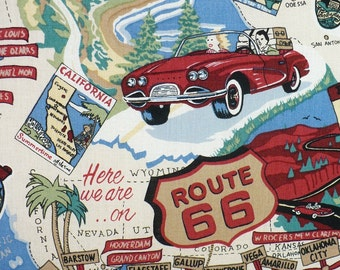 Route 66 fabric, 1/2 YARD, cotton, travel fabric, OOP, Robert Kaufman, Rare