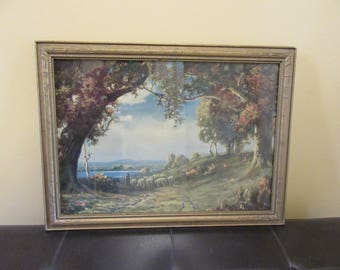 "Vintage Atkinson Fox ""Indian Summer"" Art Deco lithograph framed and under glass- nice condition, home decor, wall art"