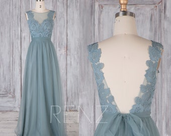 Bridesmaid Dress Dusty Blue Tulle Dress,Wedding Dress,Lace Illusion V Back Long Prom Dress,Boat Neck A-Line Sleeveless Maxi Dress(LS471)