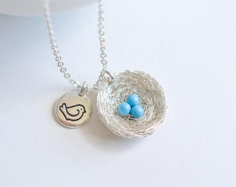 Robin's Nest Necklace, Birthday Gift for Mom from Daughter, Robin Necklace, Robin's Egg Blue, Bird Lover Gift Necklace, Robin Nest Jewelry