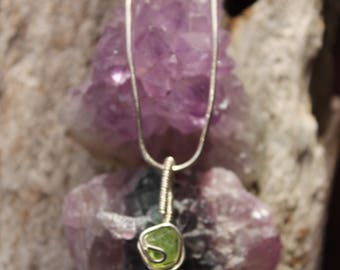 Peridot Necklace, Sterling Silver August birthstone