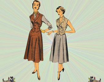 1950 Skirt & Vest Pattern, Three Button Vest with Optional Lining, Gored Skirt, Size 14, Bust 32, Advance Sewing Pattern 6177