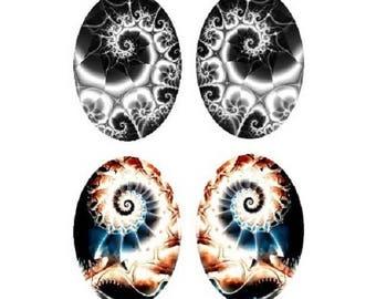 2 pairs of swirls, 13x18mm