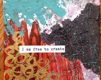 NEW! Magnet Mini Original Canvas 4 x 4 Inch - Affirmation - Free to Create!