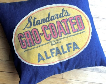 Grain Sack and Denim 18 Inch Pillow Cover