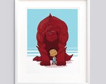 Monster Illustration, Kids Best Friend art print, Kids room art, Cute poster, Boy print, Wall art print nursery