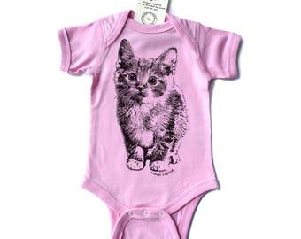 kitten onesie, kitten bodysuit for baby, baby one-piece bodysuit with kitten, , baby shower gift,
