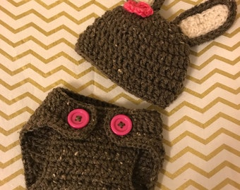 Crochet Bunny Hat & Diaper Cover