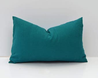 Solid Teal Linen Pillow Cover