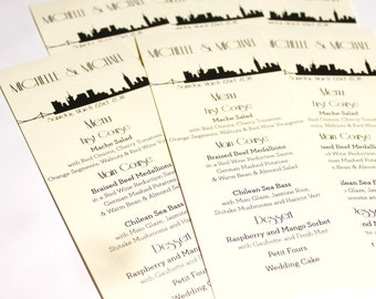 New York City Menu Cards Skyline Wedding Decor Custom NYC Other Cities Available Handmade Bridal