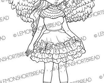 Digital Stamp Angel Wings Fairy, Digi Download, Fantasy Girl, Coloring Page, Clip Art, Scrapbooking Supplies