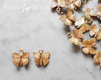 2pcs ∙ Gold Butterfly Charm Dainty Insect Earring Jewelry Supplies