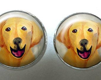 Yellow Lab Post Earrings ~ Labrador Retriever ~ Pet Keepsake ~ April Birthday  ~ Retriever Painting