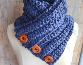 Denim Blue Three Button Cowl, Crochet Scarf, Chunky Knit, Cozy Blue Cowl, Womens Winter Scarf, Crochet Cowl, Textured knit bulky cowl
